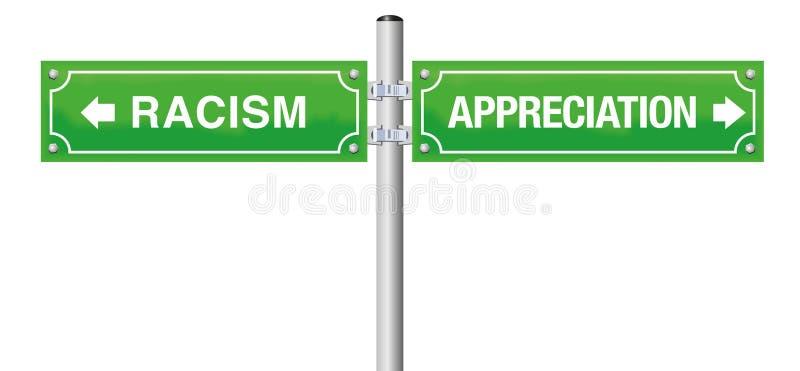 Verde de la placa de calle del aprecio del racismo ilustración del vector
