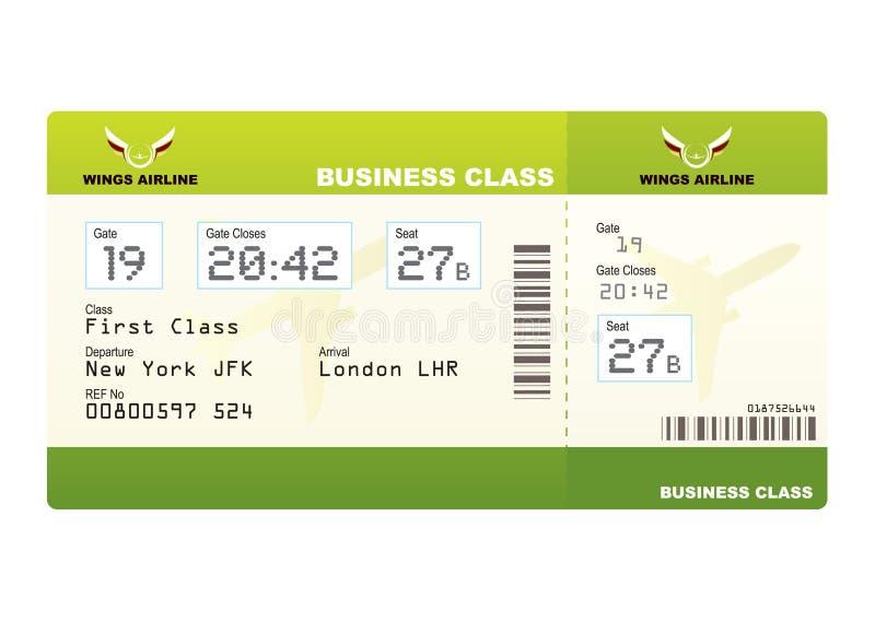 Verde del codice categoria di affari dei biglietti d'aereo royalty illustrazione gratis