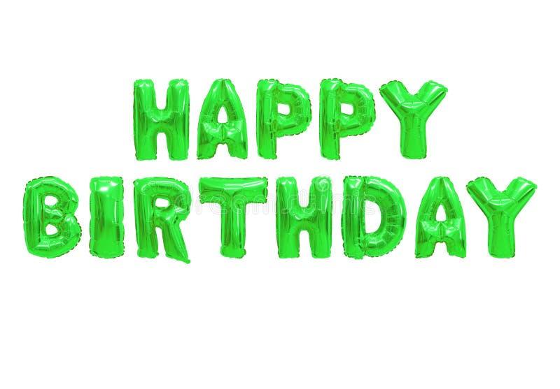 Verde del color del feliz cumpleaños ilustración del vector