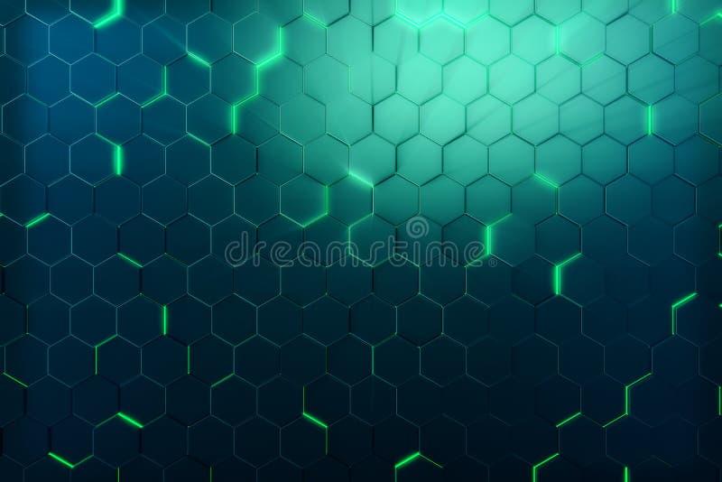Verde del extracto del modelo superficial futurista del hexágono con los rayos ligeros representación 3d ilustración del vector