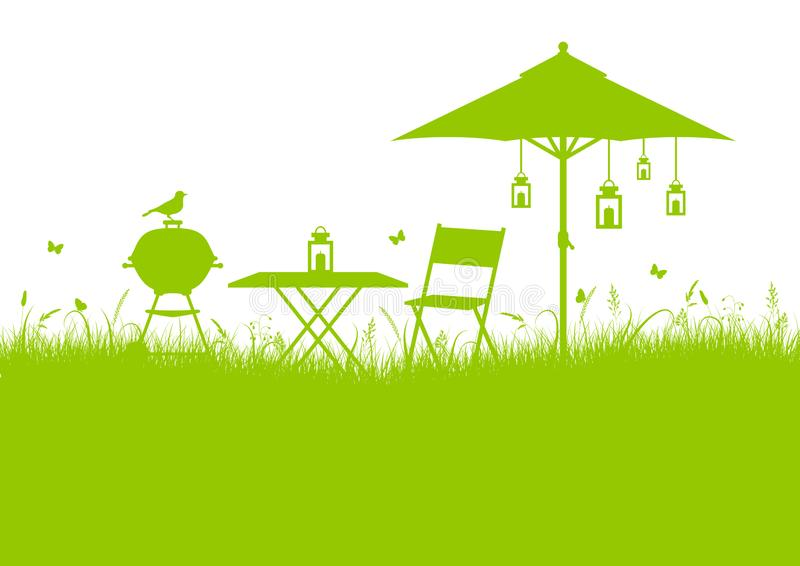 Verde del fondo del barbecue del giardino di estate illustrazione vettoriale
