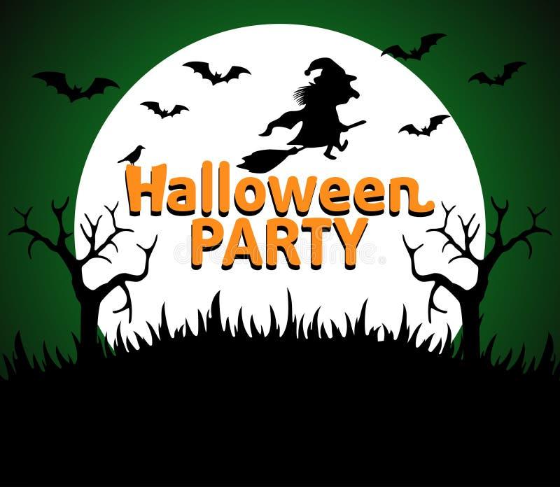 Verde del fondo del partito di Halloween illustrazione di stock