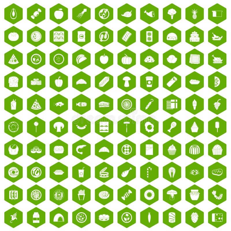 verde del hexágono de 100 iconos de la comida libre illustration