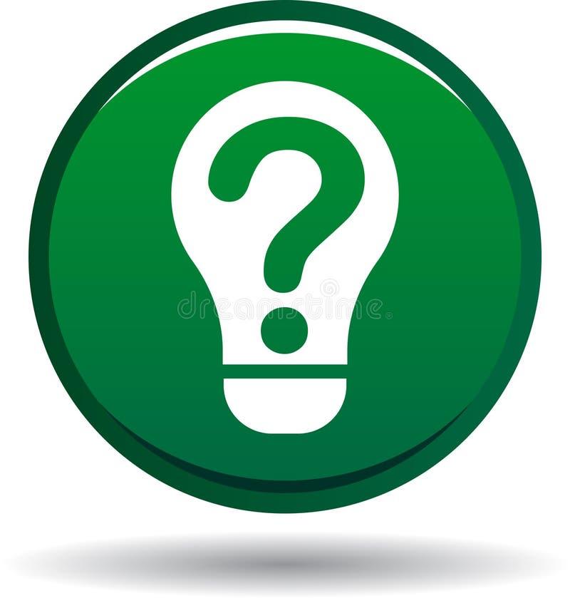 Verde del icono del bulbo de la pregunta ilustración del vector