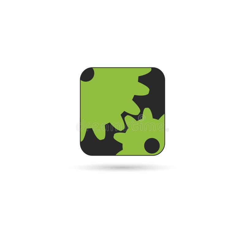 Verde del icono de los ajustes en negro stock de ilustración