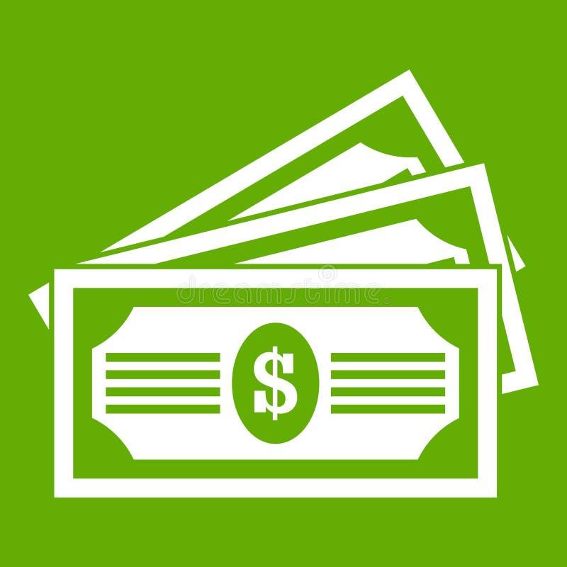 Verde del icono de tres billetes de dólar ilustración del vector