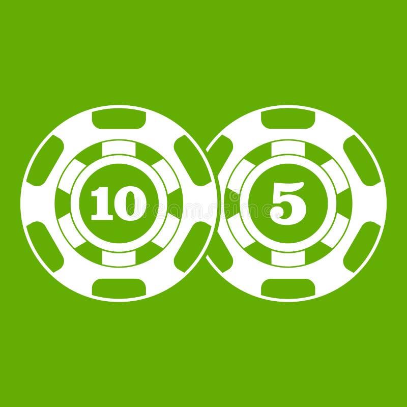 Verde del icono del nominal cinco y diez de las fichas de póker stock de ilustración