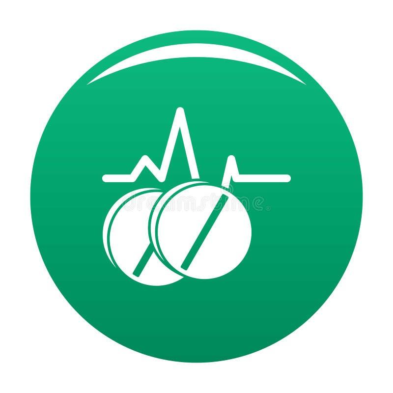 Verde del vector del icono de la píldora ilustración del vector