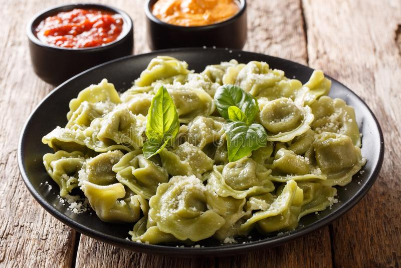 Verde delicioso cappelletti, raviolis, tortellini de la espinaca con el PA fotografía de archivo libre de regalías
