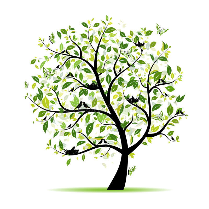 Verde dell'albero della sorgente con gli uccelli per il vostro disegno royalty illustrazione gratis