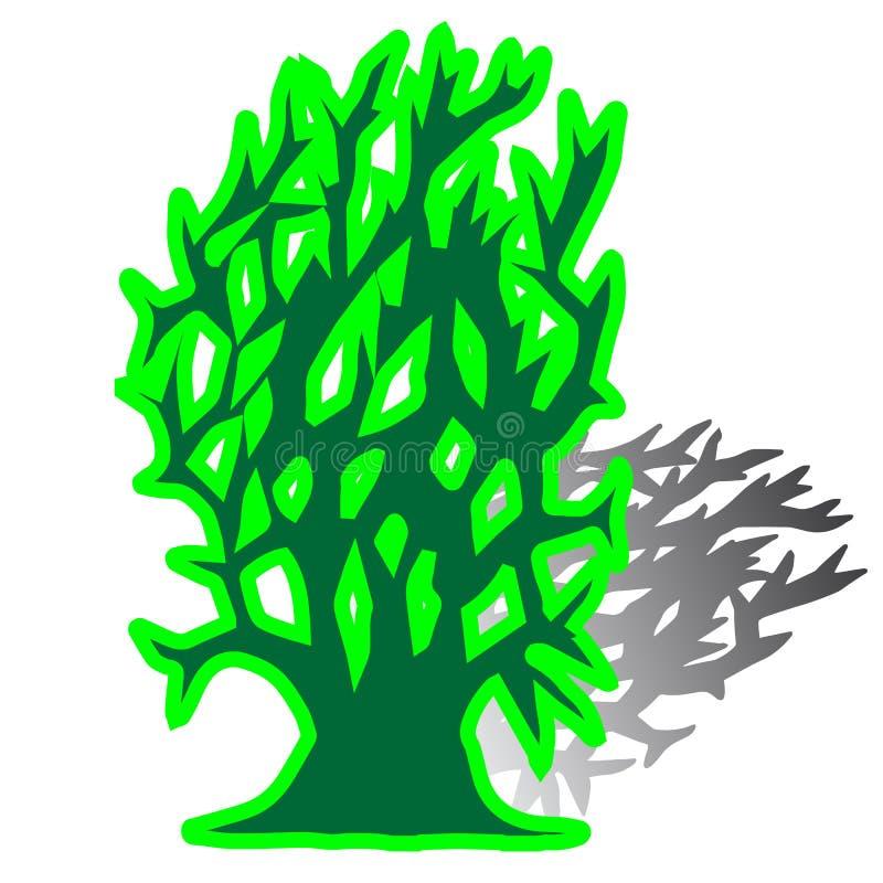 Verde dell'albero senza siluetta delle foglie illustrazione vettoriale