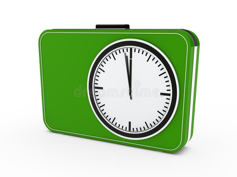 verde dell'allarme del glock di tempo 3d illustrazione di stock