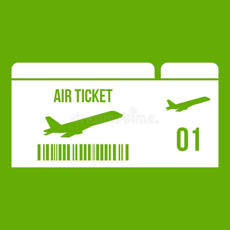 Verde dell'icona del passaggio di imbarco di linea aerea illustrazione di stock