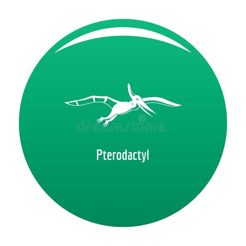Verde dell'icona del pterodattilo illustrazione di stock