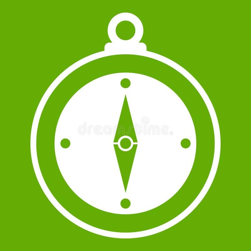 Verde dell'icona della bussola illustrazione di stock