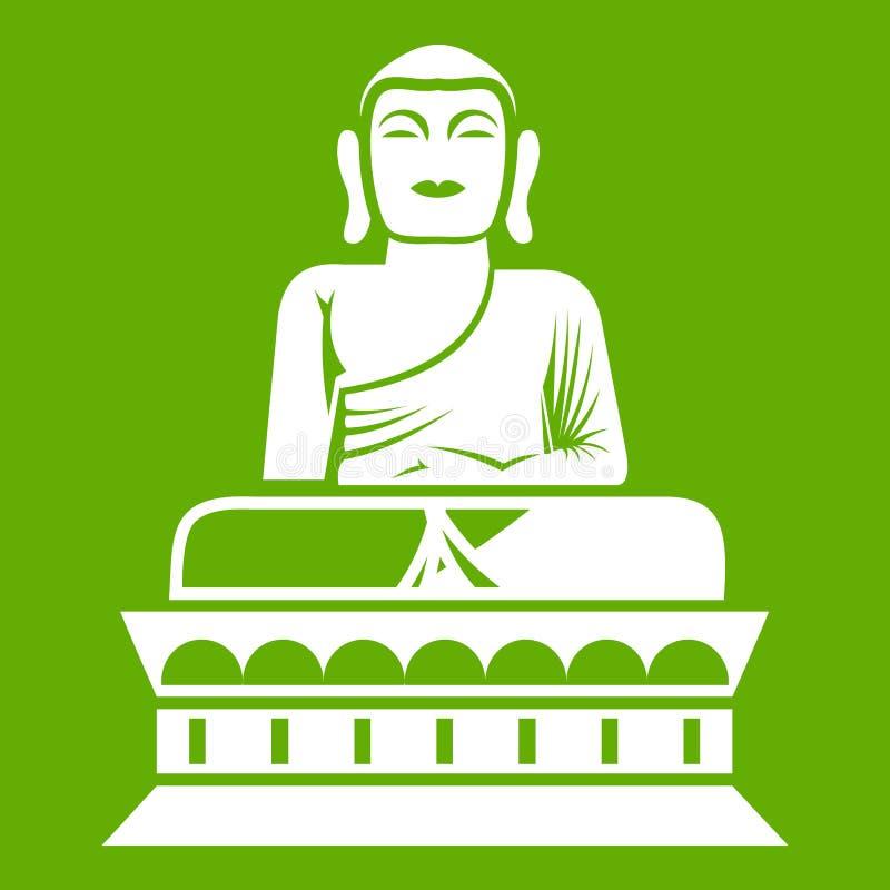 Verde dell'icona della statua di Buddha royalty illustrazione gratis