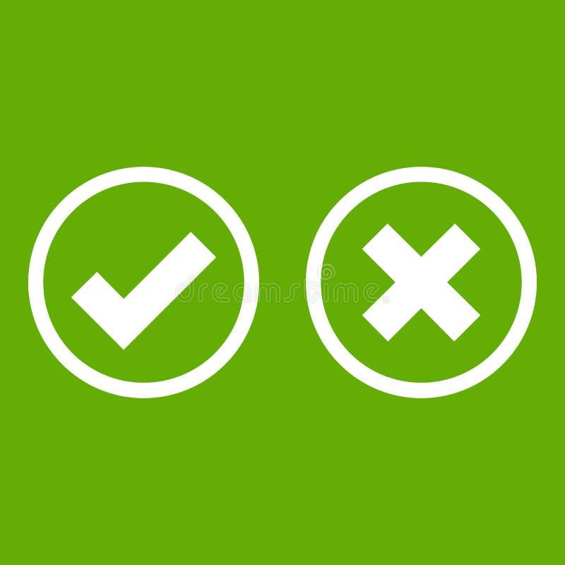 Verde dell'icona di selezione dell'incrocio e del segno di spunta royalty illustrazione gratis