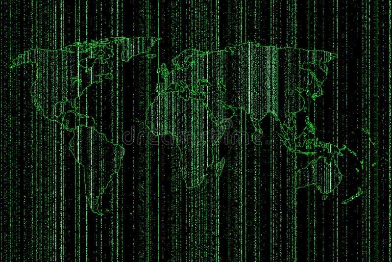Verde della mappa di mondo digitale illustrazione vettoriale