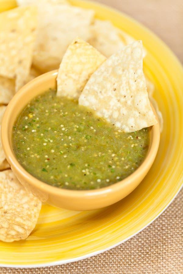 Verde della salsa di Tomatillo, cucina messicana fotografie stock