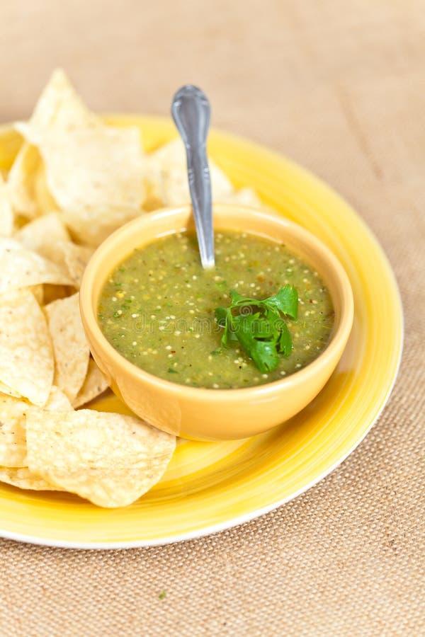 Verde della salsa di Tomatillo, cucina messicana fotografia stock libera da diritti