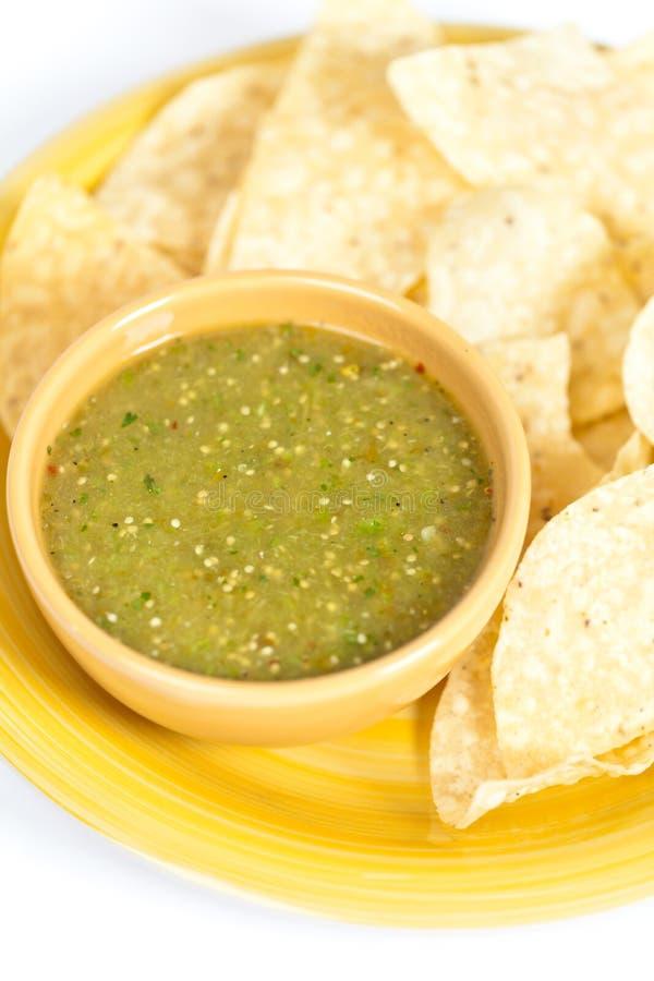 Verde della salsa di Tomatillo, cucina messicana immagini stock libere da diritti