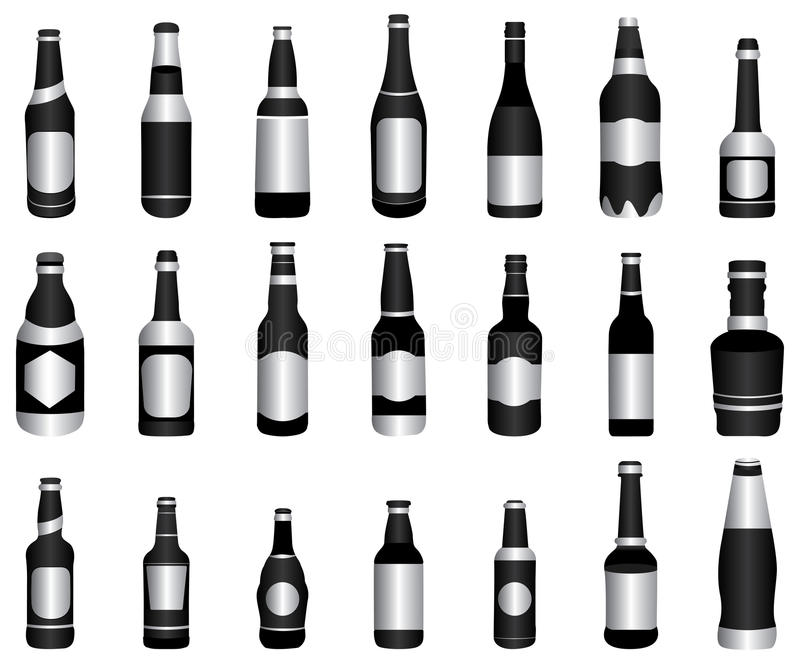 Verde di bottiglie del vino della birra illustrazione vettoriale