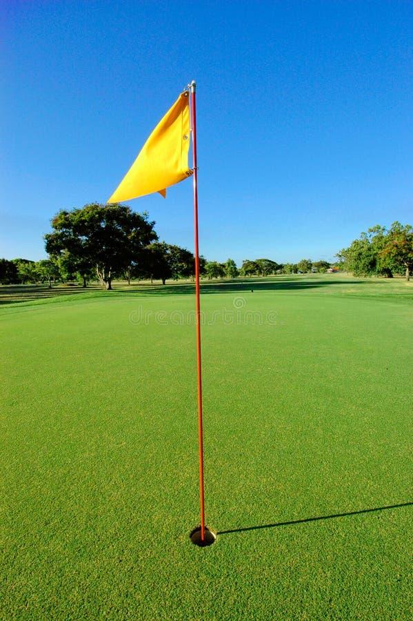 Verde di golf con la bandierina fotografie stock