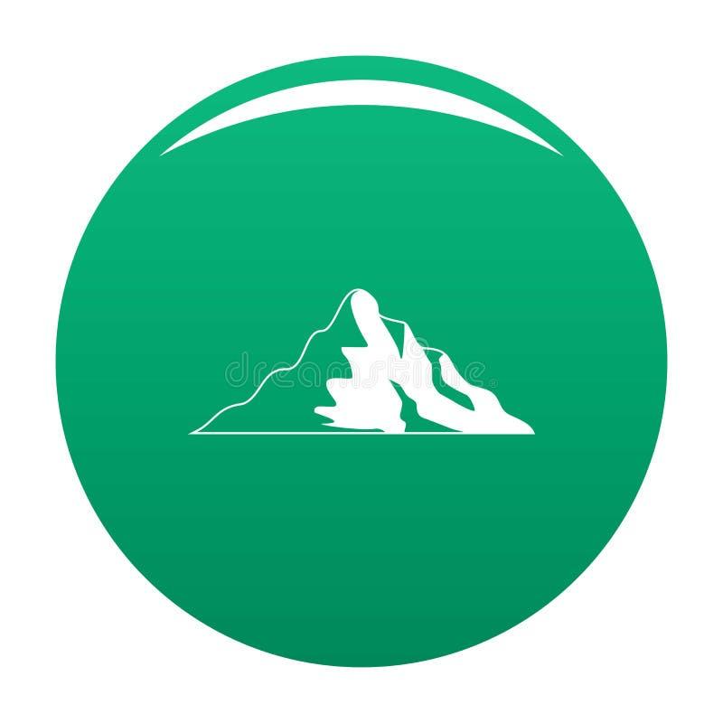 Verde di vettore dell'icona della montagna della neve illustrazione di stock