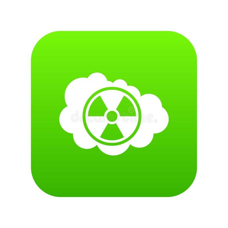Verde digital da nuvem e do ícone radioativo do sinal ilustração do vetor