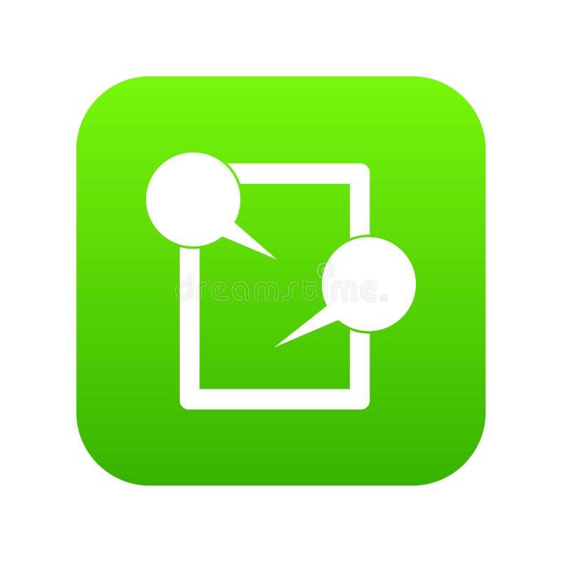 Verde digital de conversa do ícone da tabuleta ilustração stock