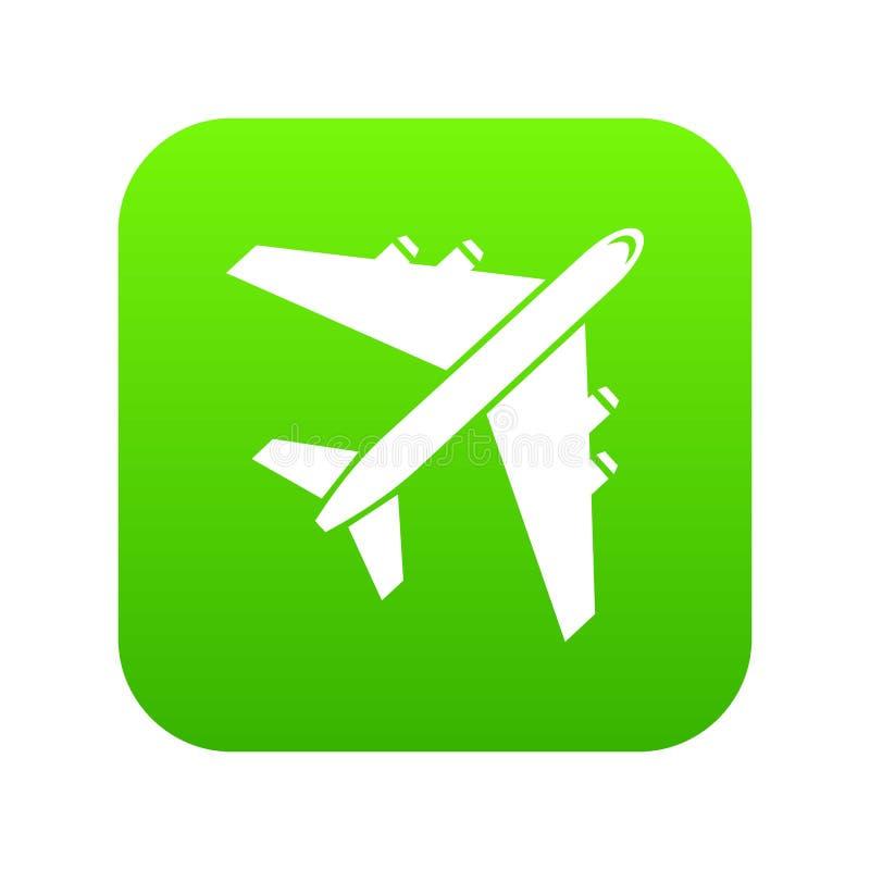 Verde digital del icono del avión de pasajeros del pasajero libre illustration