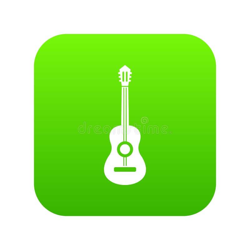 Verde digital del icono clásico de la guitarra ilustración del vector