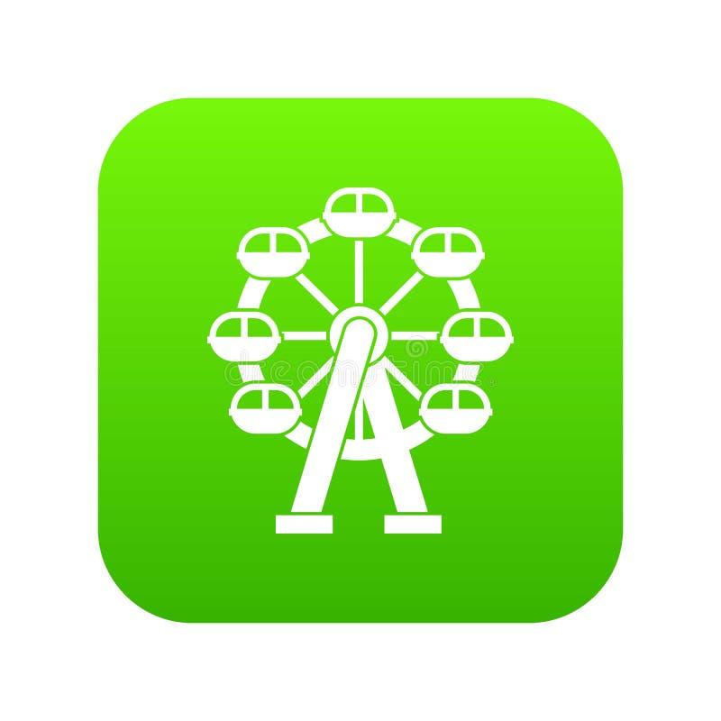 Verde digital del icono de la noria ilustración del vector