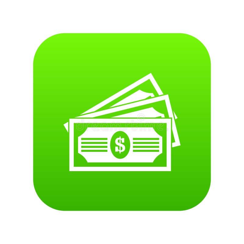 Verde digital del icono de tres billetes de dólar stock de ilustración