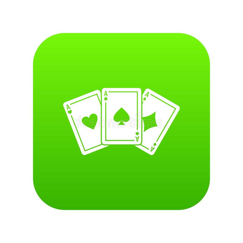 Verde digital del icono de tres naipes de los as ilustración del vector