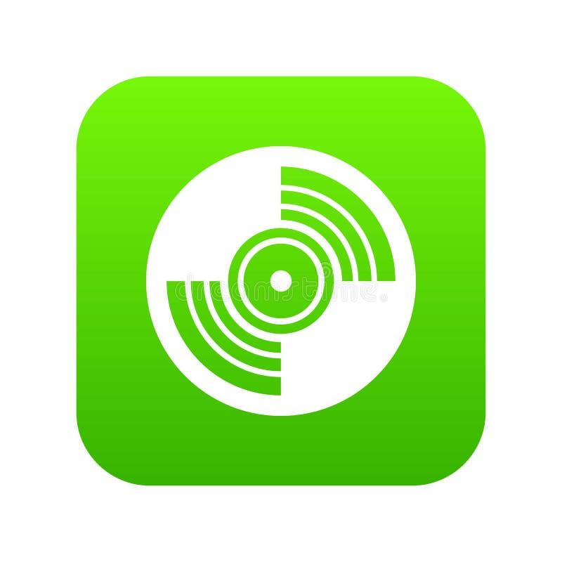 Verde digital del icono del expediente de LP del vinilo del gramófono stock de ilustración