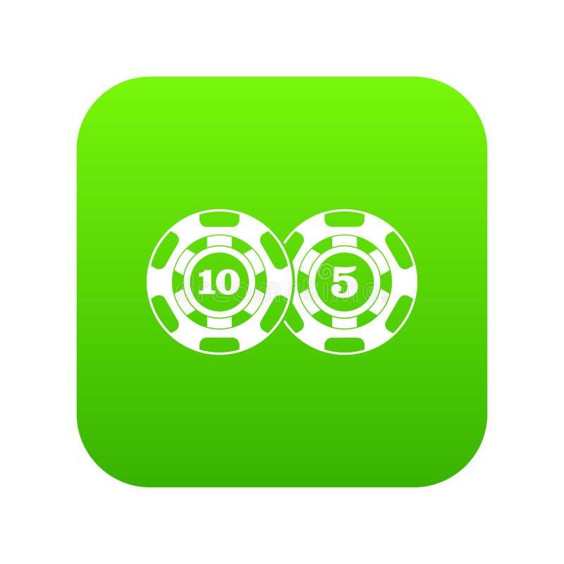 Verde digital del icono del nominal cinco y diez de las fichas de póker ilustración del vector