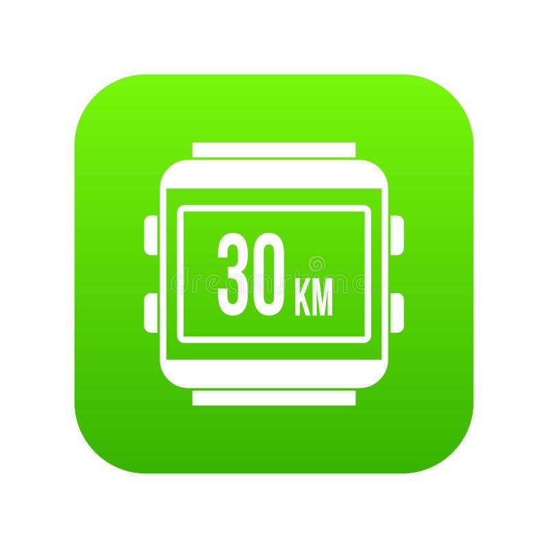 Verde digital do ícone da bicicleta do velocímetro ilustração do vetor