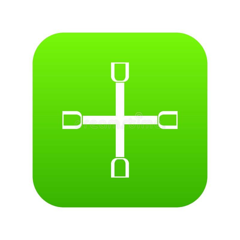 Verde digital do ícone da cruz da chave da roda ilustração royalty free