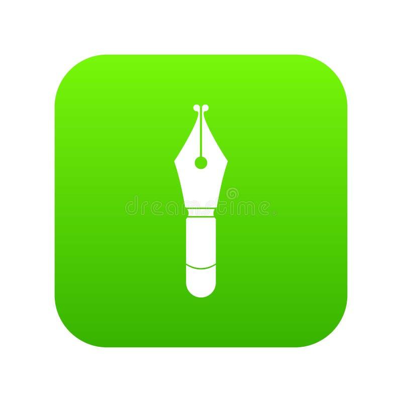 Verde digital do ícone da ponta da pena de fonte ilustração stock