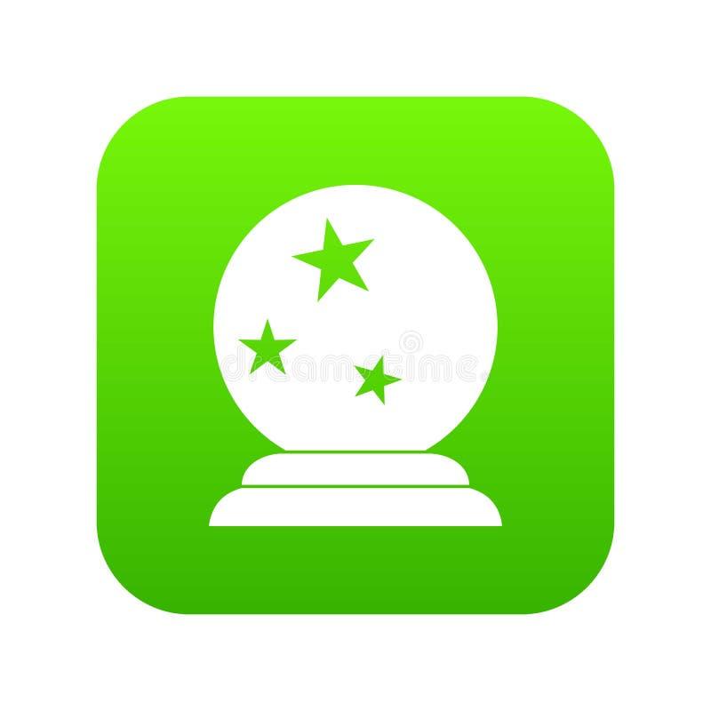 Verde digital do ícone mágico da bola ilustração stock