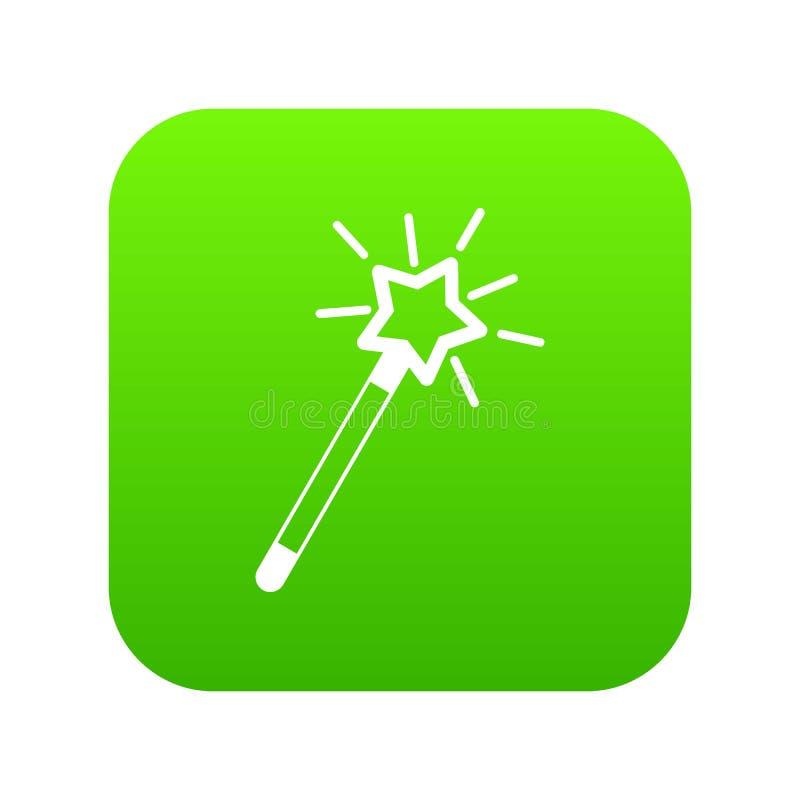 Verde digital do ícone mágico da varinha ilustração stock