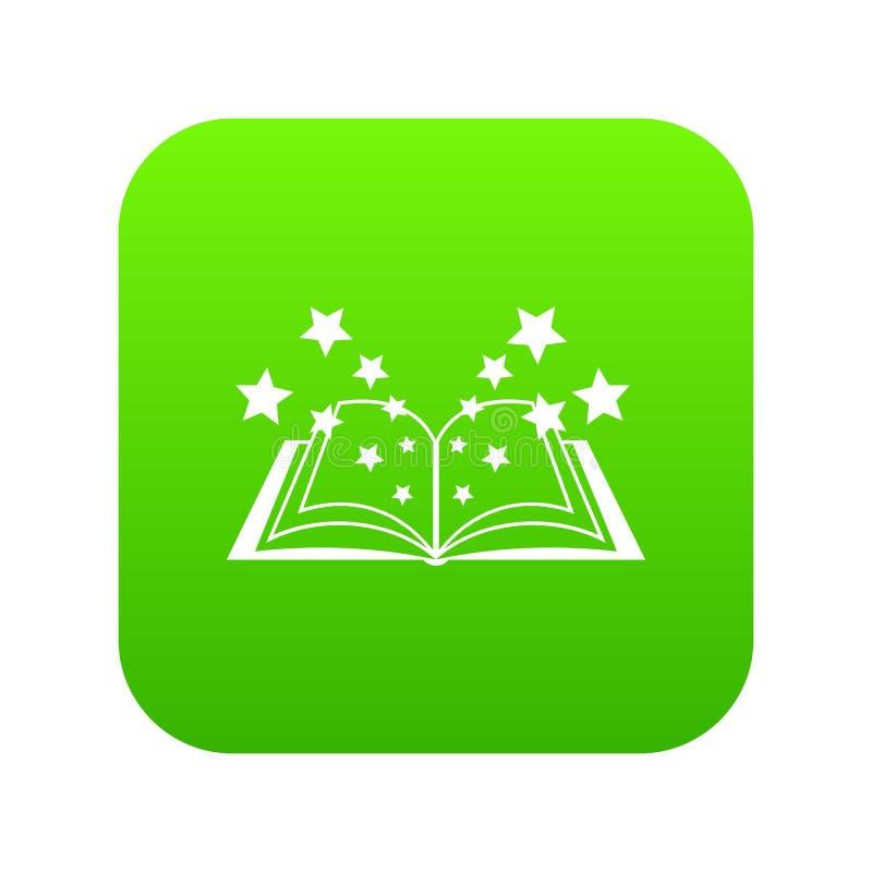 Verde digital do ícone mágico do livro ilustração do vetor