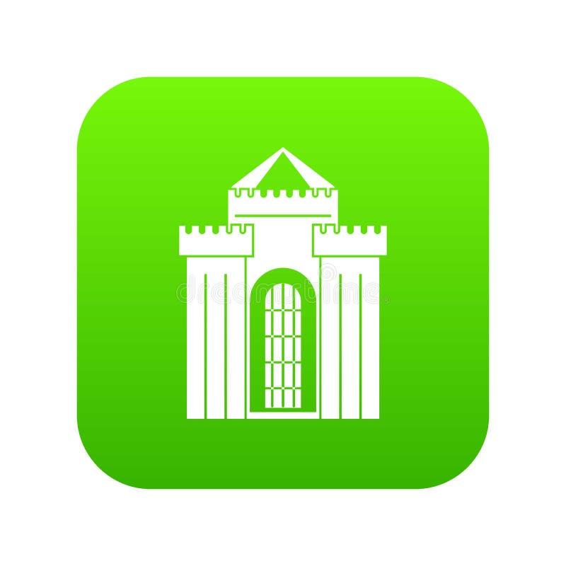Verde digital do ícone medieval do palácio ilustração royalty free