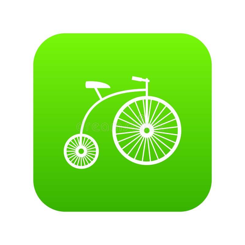 verde digital do ícone do Moeda de um centavo-farthing ilustração stock