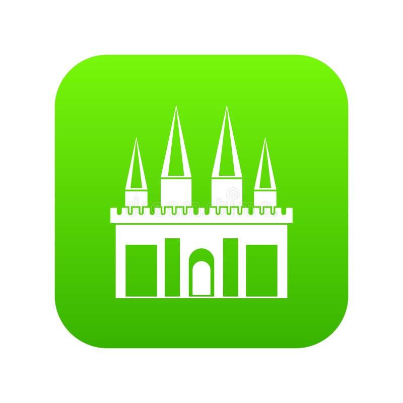 Verde digital do ícone do palácio do reino ilustração stock