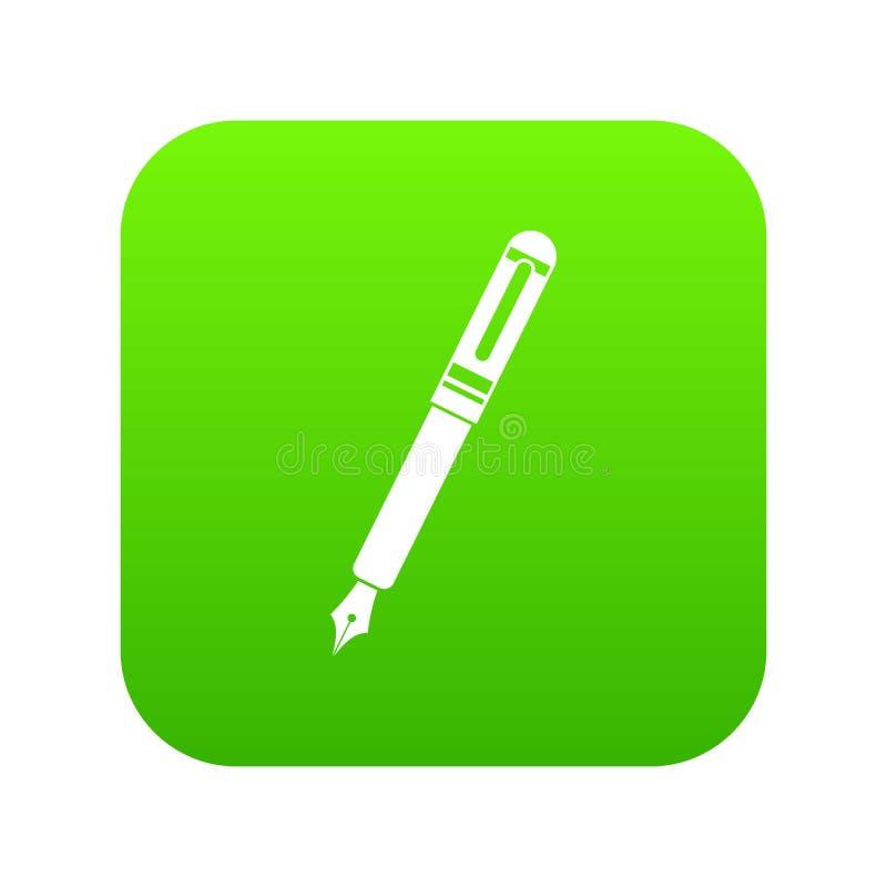 Verde digital do ícone preto da pena de fonte ilustração do vetor