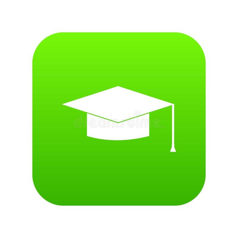 Verde digital do ícone do tampão da graduação ilustração stock