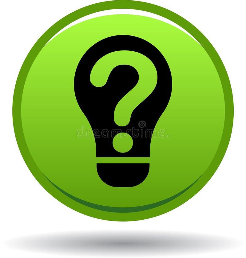 Verde do ícone do bulbo da pergunta ilustração stock