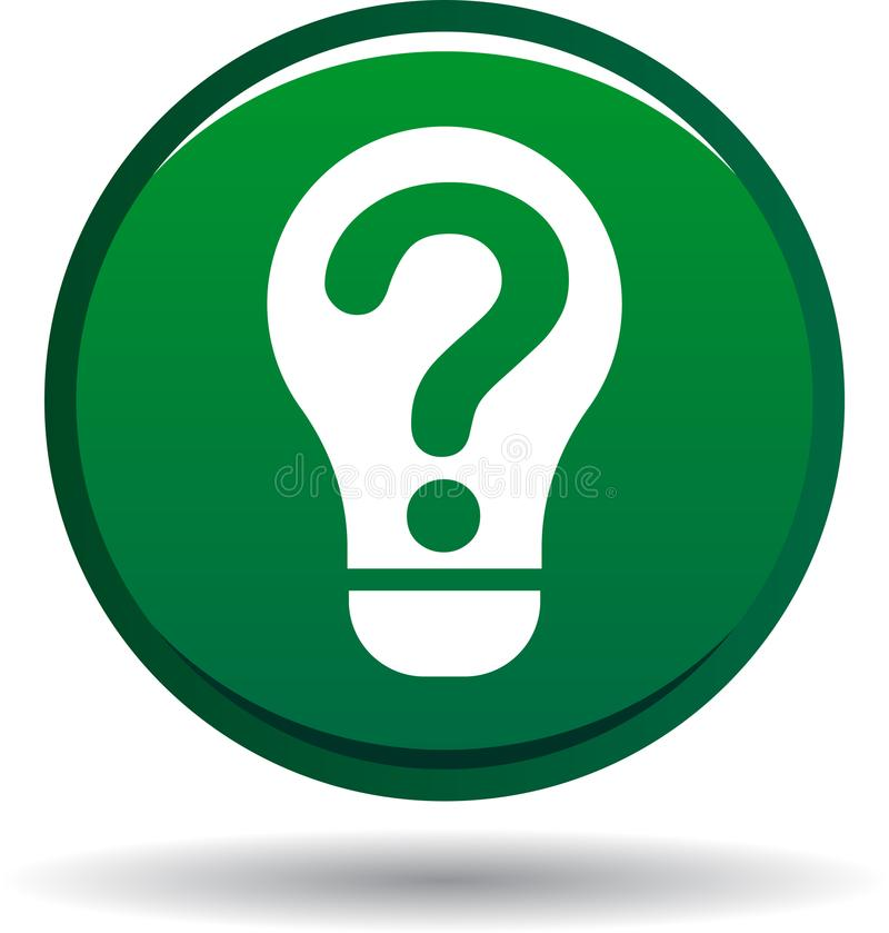 Verde do ícone do bulbo da pergunta ilustração do vetor